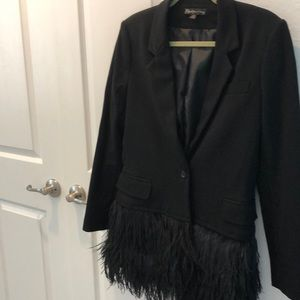 Elizabeth and James blazer with feathers